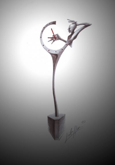 A useful forged sculpture - clocks (2010) sketch